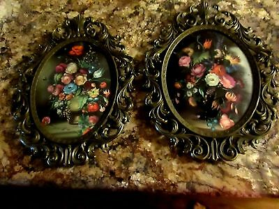 Vtg LG PAIR Ornate Italian Tole Floral Convex Glass Wall Pictures~Made in ITALY