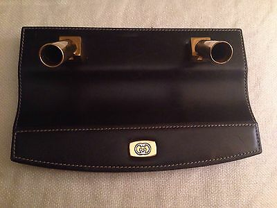 Vintage  GUCCI Leather & Brass Double Pen Holder - Authentic - Made in Italy