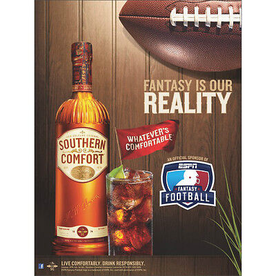 SOUTHERN COMFORT POSTER 18 BY 24  FANTASY FOOTBALL