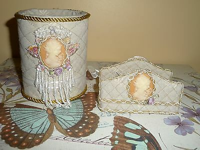 OOAK Handmade Victorian style Pen/Pencil Holder and Business Card Holder~LOVELY!