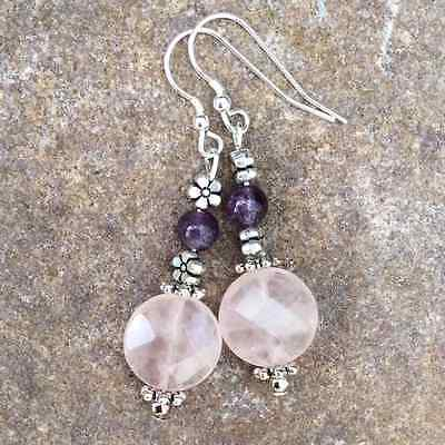 Faceted Rose Quartz, amethyst earrings. Irish made gift jewellery.