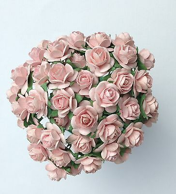 50 PALE  PINK MULBERRY PAPER OPEN ROSES/FLOWERS 1cm (10mm) and 1.5cm (15mm)