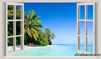 Tropical Beach Window View Repositionable Color Wall Sticker Wall Mural 3 FT