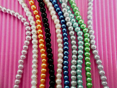 JEWELLERY WHOLESALE BULK BEADS LOOSE X500 GLASS PEARL 4mm SUIT MEMORYWIRE (MW11)