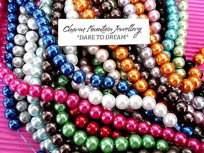 JEWELLERY WHOLESALE BULK BEADS LOOSE X200 GLASS PEARL 8mm SUIT MEMORYWIRE (MW12