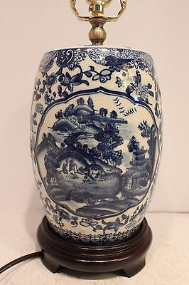 Unique Blue and White Porcelain Drum/GardenStool Blue Willow Table Lamp 21""