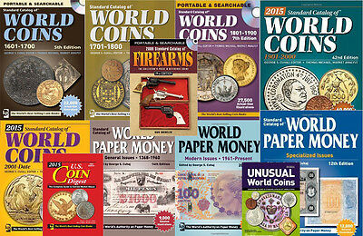Krause 2015 Catalogs - 5 World Coins 3 World Paper Money + 16 Bonus Catalogs