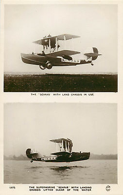 SCARAB Bomber Amphibian FLYING BOAT ~Great Britain~ Scarce RPPC / Photo Postcard