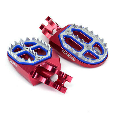 Billet MX Foot Pegs Rests Pedals For Honda CR125 CR250 CR500 CRF250 CRF450 Red