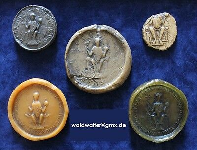 5 rare wax seal collection Siegel Wappen sceau heraldry GERMAN medieval EMPERORS