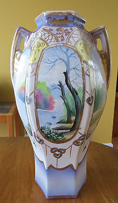 Lovely Antique Nippon Hand Painted Mantel Vase Pastel Lake Scenes Made in Japan