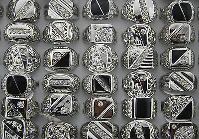 Job Lots 50pcs crystal Rhinestone Men's Silver P Cool rings
