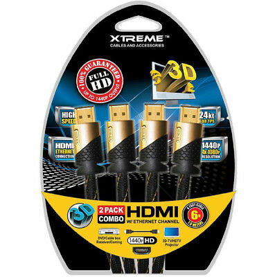 6 ft. Xtreme 2 Pack Combo HDMI v1.4 Cable - Black