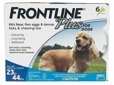 Frontline Plus for dogs 23-44# 6 pk with 2 free doses (total of 8 applications)