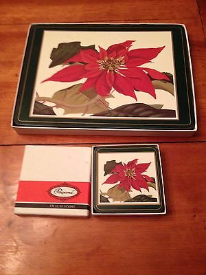 Set of 6 Pimpernel Poinsettia Holiday Cork Backed Placemats & Coasters England