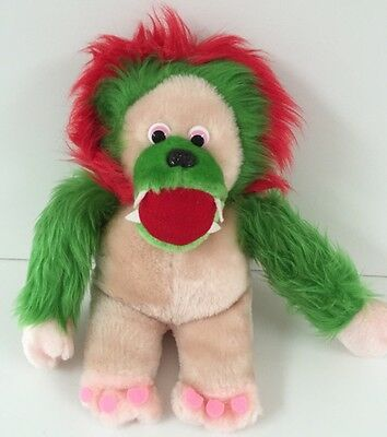 "Marvin Monster 12"" Plush BOA Vtg 1980s Stuffed Animal Red Green Fuzzy Hair Korea"