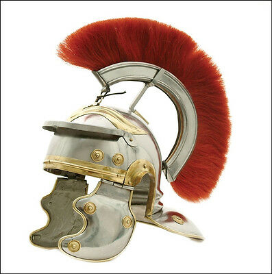 Medieval Centurian helmet with Red Plume, Antique Roman Replica Gift