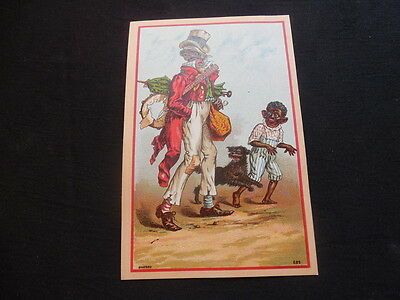 RARE Antique Victorian Trade Card Clinton Mass Brett's Clothing Black Americana