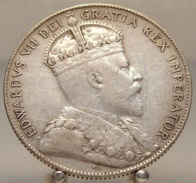 1904 H Canada Newfoundland Silver 50 Cents, Old Sterling Silver World Coin