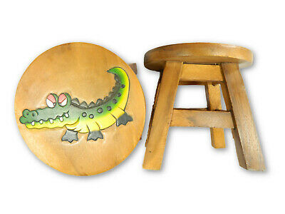 Childs Childrens Wooden Stool - Crocodile Step Stool
