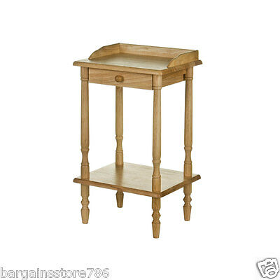 Telephone Table 2 Tier Side End Hall Wood Bedside Lamp Stand Wood Single Drawer