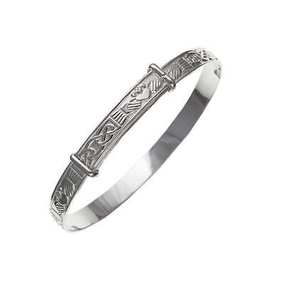 New Childrens Silver Celtic Claddagh Expanding Bangle Bracelet Celtic Jewellery