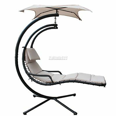 FoxHunter Garden Swing Hammock Helicopter Hanging Chair Seat Sun Lounger Beige