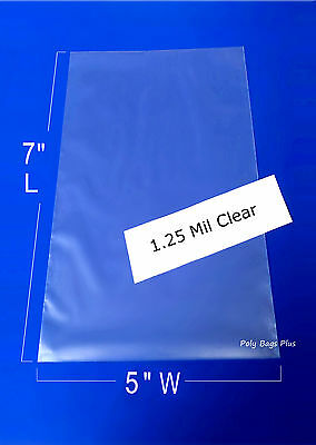 "1000 5x7"" Clear 1.25 Mil Poly Bags Flat Open Top Plastic Baggies Case Heat Seal"
