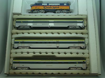 Ho  Scale Chessie System Train Set F-3 Locomotive W/3 Passenger Cars # Rr C100
