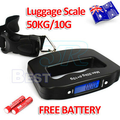 Portable Electronic Digital Luggage Scale Travel 50KG Handheld Suitcase 10G