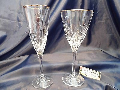 Chris D'arques Cassandra Gold Rim Champagne Flute and Water Glass