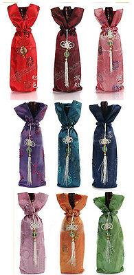 Wholesale 10pcs Chinese Handmade Vintage Sequins Embroide Silk Wine Bottle Cover