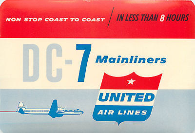 DC-7 Mainliners ~UNITED AIRLINES~ Great Old Luggage Label, c. 1955