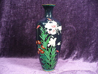 "Antique 19C Meiji Japanese cloisonne vase 11.5"" excellent"