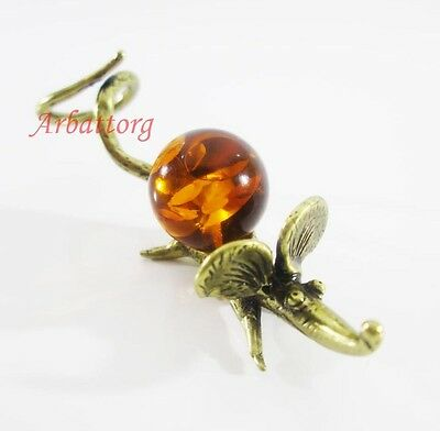 Bronze Brass Figurine Statuette Russian Mouse Rat Baltic Amber # 38