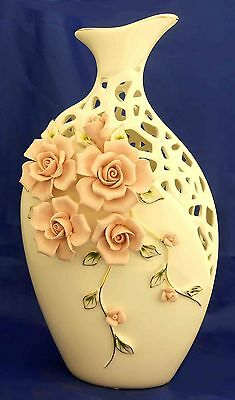 White ceramic carved vase with pink flower /Center piece / home decorative
