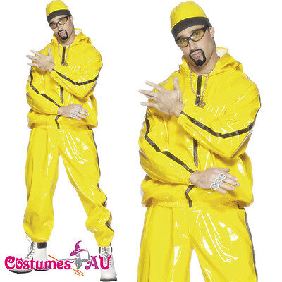 Mens Ali G Rapper Suit 1980s Costume Yellow Tracksuit 80s Hip Hop Fancy Dress
