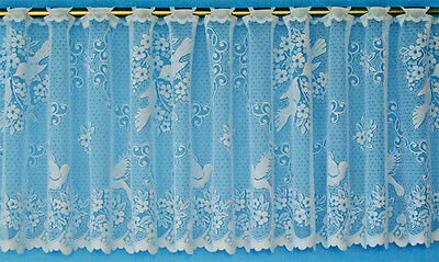 Love Birds Cafe Net Curtain - Amazing Lace Design - 3 Drops - Sold By The Metre