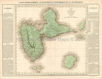 Guadeloupe Antique Map Buchon 1825 Original