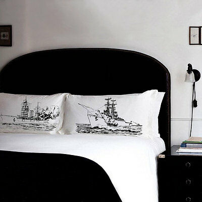 Two PILLOW FIGHTING Battleships pillowcases vintage USS Navy Battle