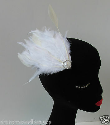 White Ivory Feather Fascinator Hair Clip Headpiece Vintage 1920s 30s Flapper O82