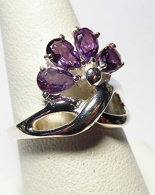 Beautiful Natural Amethyst Sterling Silver Ring Size 7.25-7.75    AR3