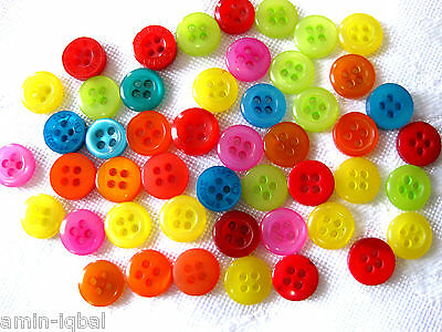 50 Buttons,coloured mixed,Plastic, approximately 8-10mm,Dolls clothes K59