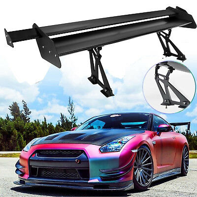 Black Universal Lightweight Double Deck Car GT Rear Trunk Wing Racing Spoiler @