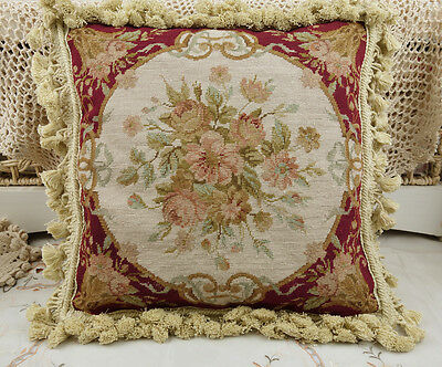 "16"" Vintage Handmade Red Floral Needlepoint PETIT POINT Pillow Cushion"