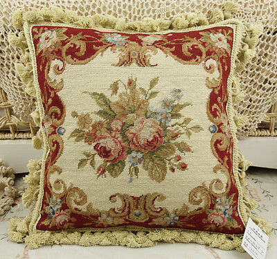 "14"" Chic Shabby Burgandy Beige Floral Handmade Needlepoint Pillow Cushion"