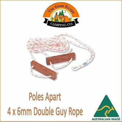 4 PACK TENT DOUBLE GUY ROPE WOOD ROPE RUNNER 6mm