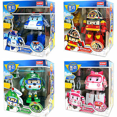 4ea X Robocar DELUXE Transformer POLI, HELLY, ROY, AMBER /Figure/Toy Academy