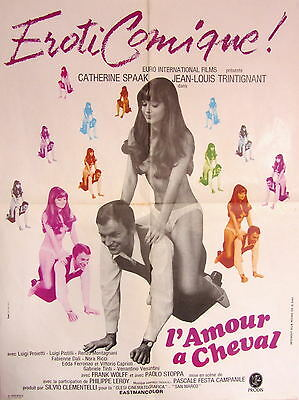 Vintage 1960s French Erotic Film Poster L'Amour a Cheval  The Libertine