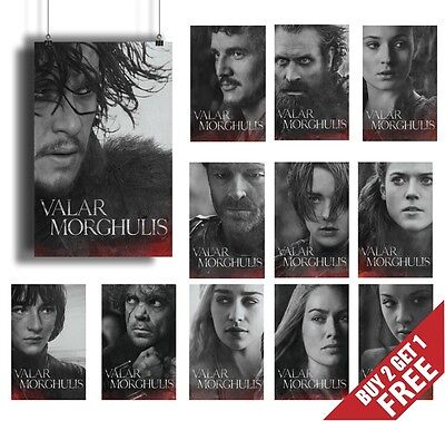 A4, A3 Size Game Of Thrones Posters, New Valar Morghulis Set Wall Art Prints